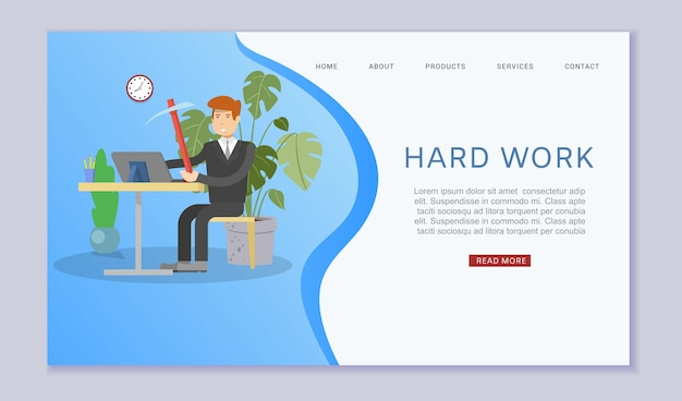 Hard work, inscription web , home business concept, businessman businessman,     illustration. man at office onlain, computer on desk, working space, overwork from load.