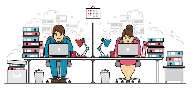 Hard working employees, man and woman, in office character business flat line illustration concept. coworkers sitting nonstop with laptop at desk littered with bunch of document folders