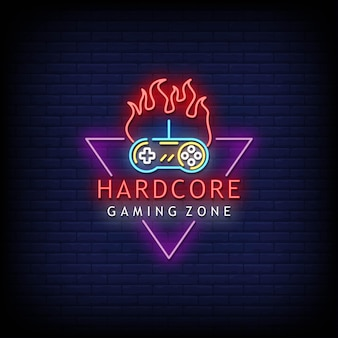 Hardcore gaming zone logo neon signs style text
