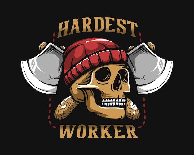 티셔츠 디자인을 위한 가장 힘든 작업자 두개골 등심 삽화