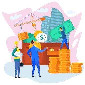 Бизнесмен с бумажником доллар строитель в hardhat