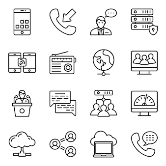 Hardware networks line icons pack