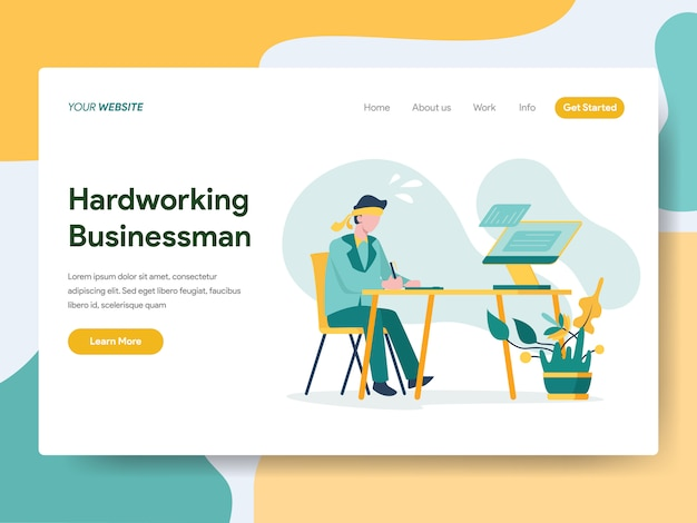 Hardworking businessman for website page