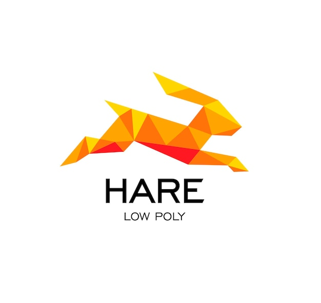 Hare geometrical sign rabbit abstract polygonal vector logo template origami orange color low poly