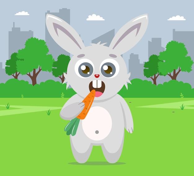 Заяц на лужайке ест морковь. плоский характер иллюстрации.