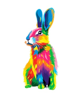 Hare rabbit from multicolored paints splash of watercolor colored drawing realistic