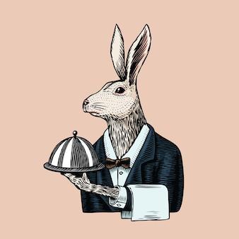 Заяц официант с блюдом.