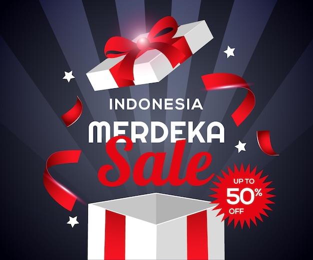 Hari kemerdekaan indonesia  merdeka sale with gift box