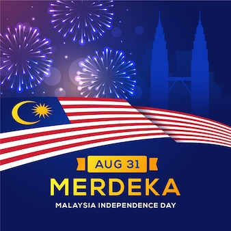 Hari merdeka with fireworks and flag