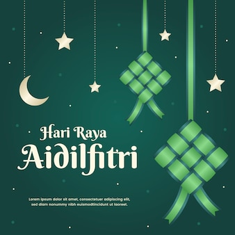 Hari raya aidilfitri ketupat in the night