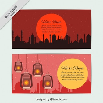 Hari raya banners in red tones
