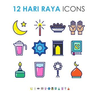 かわいい活気のあるアイコンのイラストでイスラムのお祝いのためのハリラヤまたはイードムバラク