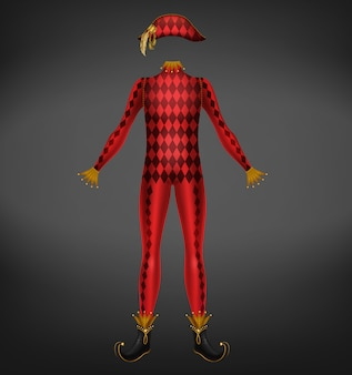 Harlequin costume isolated on black background.
