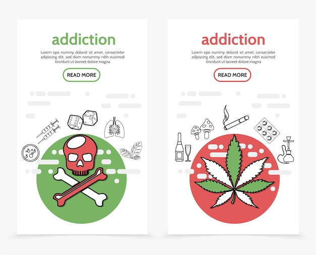 Harmful addictions vertical banners with skull crossbones syringes dice sick lungs marijuana tobacco