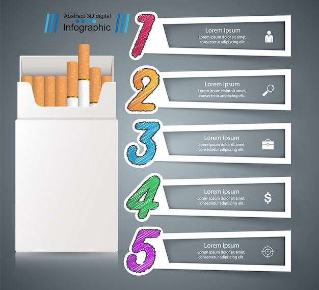 Harmful cigarette business infographics.