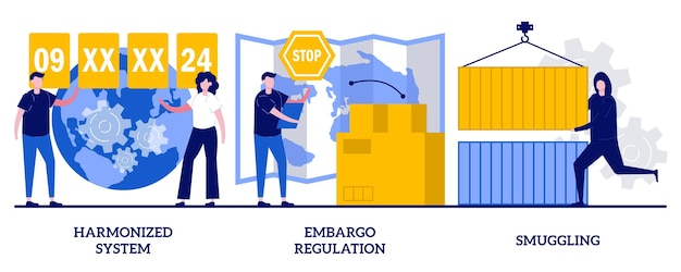 Harmonized system, embargo regulation, smuggling concept with tiny people. logistics industry abstract vector illustration set. trading goods limitations, customs control, contraband metaphor. Premium Vector