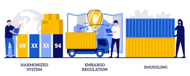 Harmonized system, embargo regulation, smuggling concept with tiny people. trading goods limitations, customs control, export and import prohibition, contraband abstract vector illustration set.