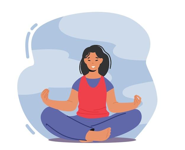 ハーモニー、自然の概念に関するヨガ瞑想。蓮華座で瞑想する女性、感情的なバランス、前向きな生活と気分のために屋外でリラクゼーションを楽しむ女性キャラクター。漫画のベクトル図