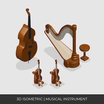 하프, 더블베이스 및 바이올린. 아이소 메트릭 악기 세트.