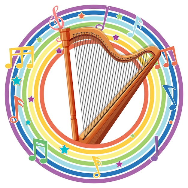 Harp in rainbow round frame with melody symbols