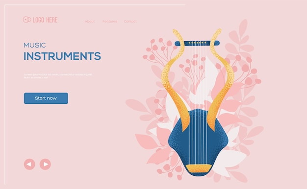Harp unusual concept flyer, web banner, ui header, enter site. .