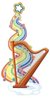 Арфа с символами мелодии на радужной волне