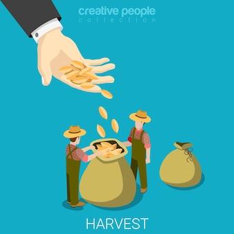 農業ビジネスコンセプトフラットを収穫する