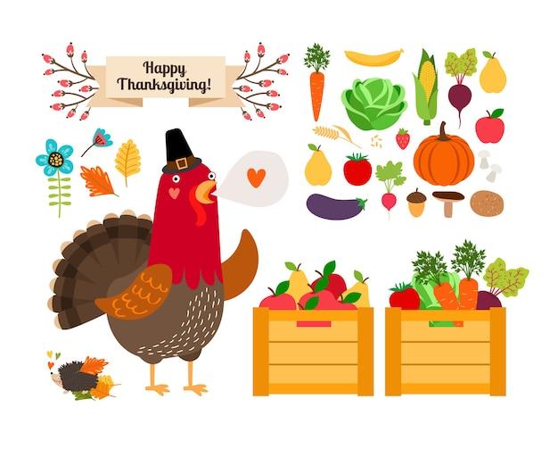 Концепция сбора урожая. фрукты и овощи на день благодарения и меню. петух с урожаем.