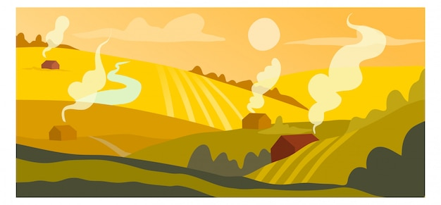 収穫作物概念播種フィールド、田舎の村の風景背景自然バナー漫画イラストアート。