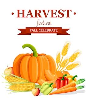 Баннер фестиваля урожая. стиль свежих овощей. осенний плакат. иллюстрация на белом фоне