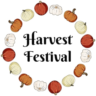 Harvest festival decorative wreath banner with cute colorful pumpkins