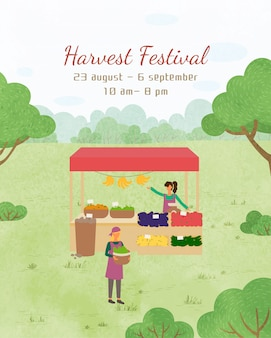 Harvest festival poster dates invitation to event