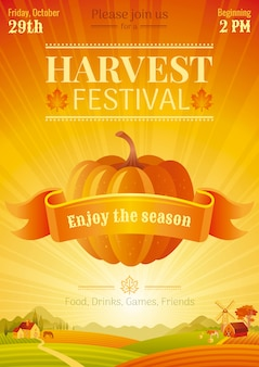 Harvest festival poster event template. fall party invitation design. vector illustration.