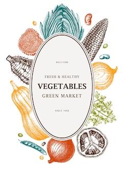 Harvest festival vector frame design in color vegetables herbs mushrooms backdrop