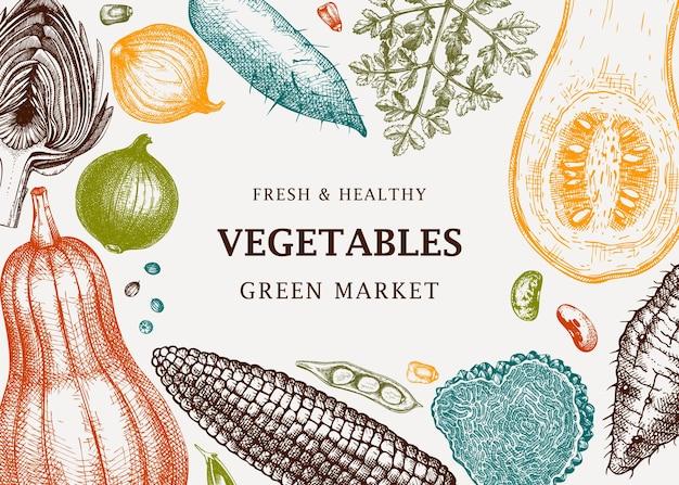 収穫祭のベクトルフレームデザインをカラーで野菜ハーブキノコの背景にh要素を使用レシピの健康食品成分バナーテンプレートウェブバナーメニュー広告
