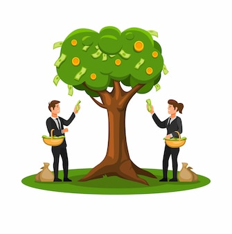 Harvest money from tree, business finance management cartoon