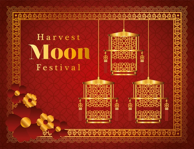 Harvest moon festival with gold lanterns flowers and frame