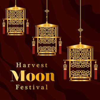 Harvest moon festival with gold lanterns