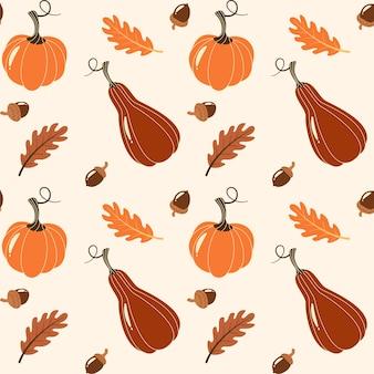 製品のシームレスなパターンを収穫します。野菜と背景。感謝祭の日のデザイン要素