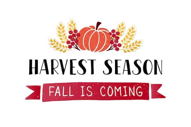 Harvest season hand drawn lettering harvest fest poster design autumn festival fall template