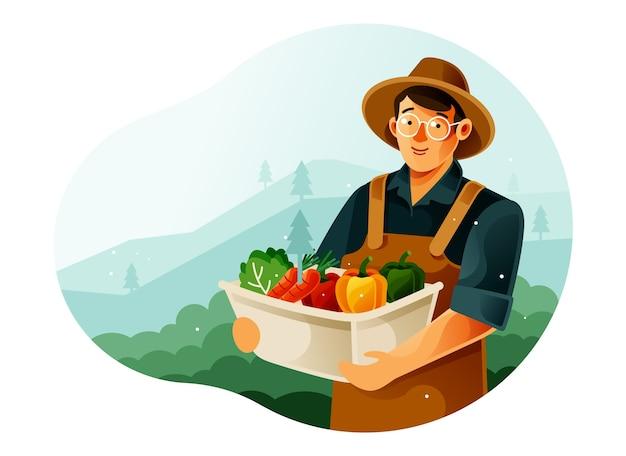庭で野菜を収穫する