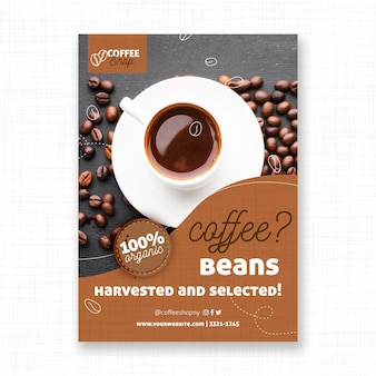 Harvested coffee beans flyer template