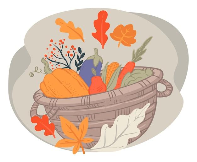 Собранные овощи в плетеной корзине
