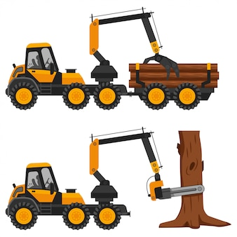 Harvester working in a forest.  flat illustration of a truck with logs isolated on a white background.