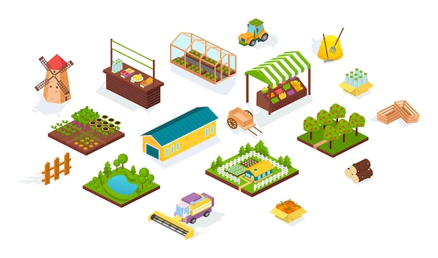 Harvesting and agriculture isometric set. agricultural machines, fields harvest, local market stall