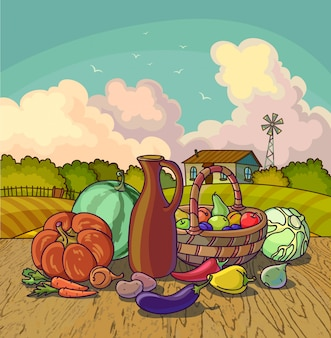 Harvesting autumn symbols fruits and vegetables, basket on farm background.
