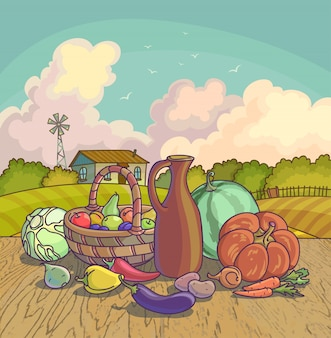 Harvesting autumn symbols fruits and vegetables, basket on farm background.