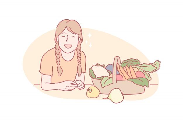 Harvesting, eco vegan food concept