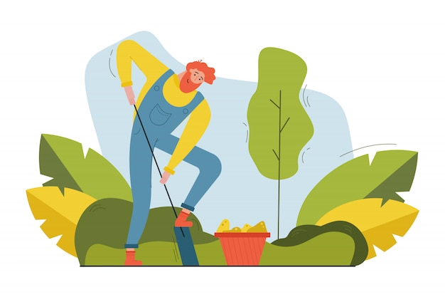 Harvesting, farming, sowing campaign, nature, agriculture concept. young bearded happy smiling man farmer worker digging ground with shovel for planting seeds. rural life in countryside illustration