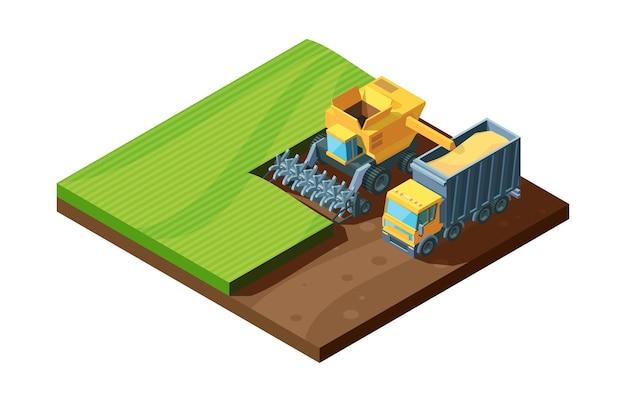 等角投影図の収穫。活気のある収穫機と農業機械を組み合わせて、畑で小麦を集め、コンセプトファームの自然農法。